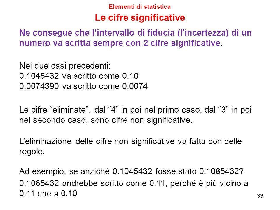 Elementi di statistica Le cifre significative Ne consegue che l'intervallo di fiducia (l incertezza) di un numero va scritta sempre con 2 cifre significative.