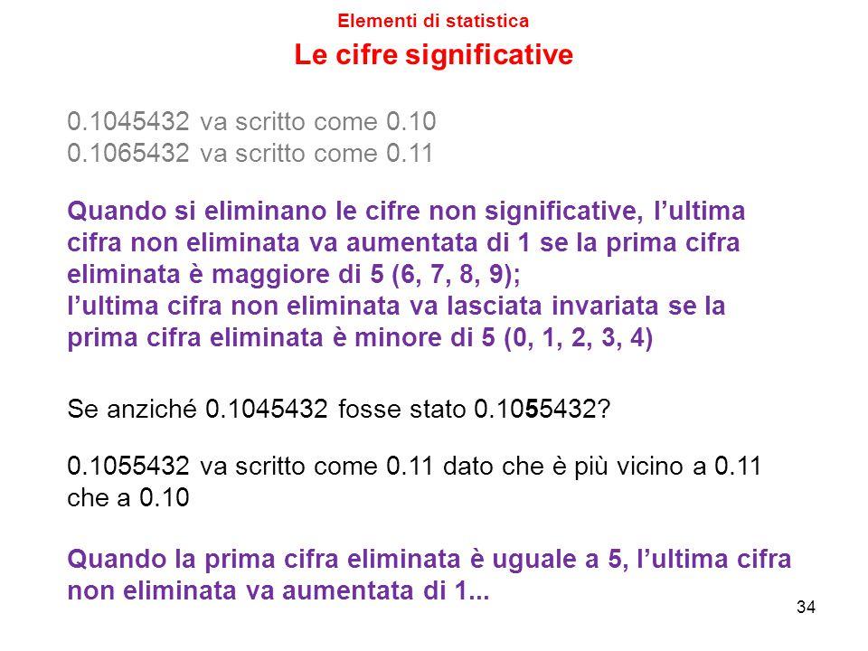 Elementi di statistica Le cifre significative Quando si eliminano le cifre non significative, l'ultima cifra non eliminata va aumentata di 1 se la prima cifra eliminata è maggiore di 5 (6, 7, 8, 9); l'ultima cifra non eliminata va lasciata invariata se la prima cifra eliminata è minore di 5 (0, 1, 2, 3, 4) 34 0.1045432 va scritto come 0.10 0.1065432 va scritto come 0.11 Se anziché 0.1045432 fosse stato 0.1055432.
