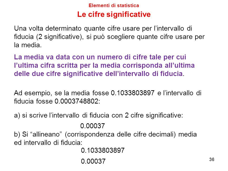Elementi di statistica Le cifre significative Una volta determinato quante cifre usare per l'intervallo di fiducia (2 significative), si può scegliere quante cifre usare per la media.