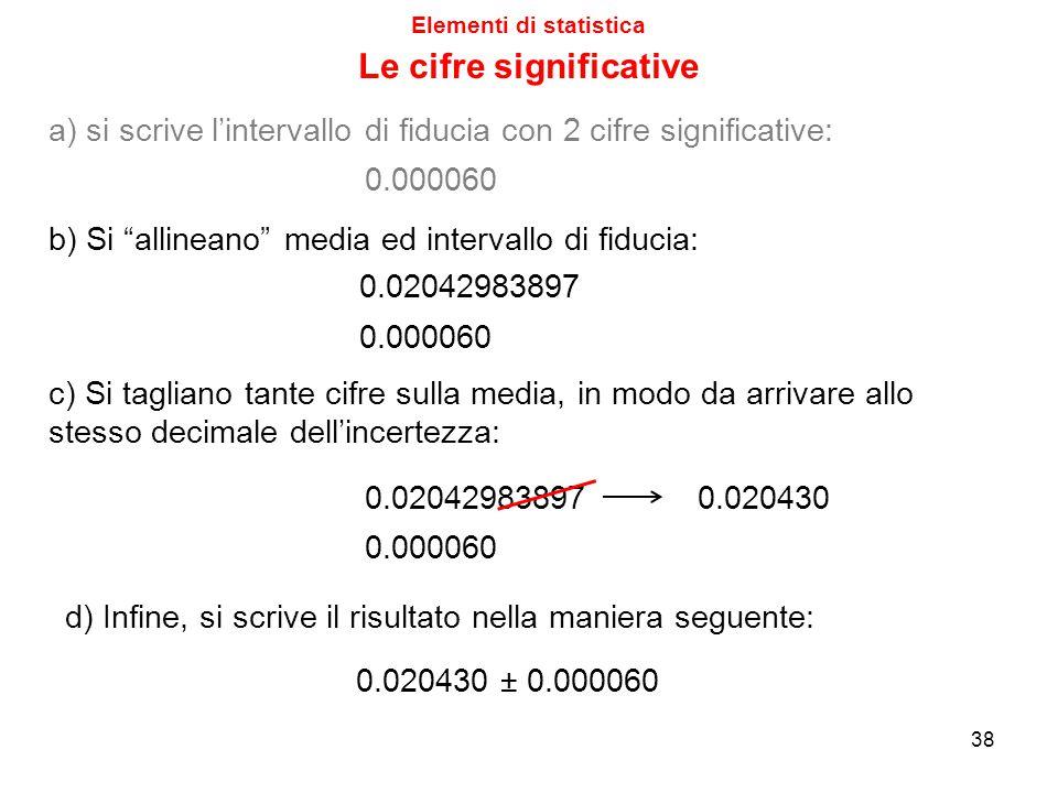 Elementi di statistica Le cifre significative 38 0.02042983897 0.000060 c) Si tagliano tante cifre sulla media, in modo da arrivare allo stesso decimale dell'incertezza: d) Infine, si scrive il risultato nella maniera seguente: 0.020430 ± 0.000060 a) si scrive l'intervallo di fiducia con 2 cifre significative: 0.000060 0.02042983897 0.000060 b) Si allineano media ed intervallo di fiducia: 0.020430