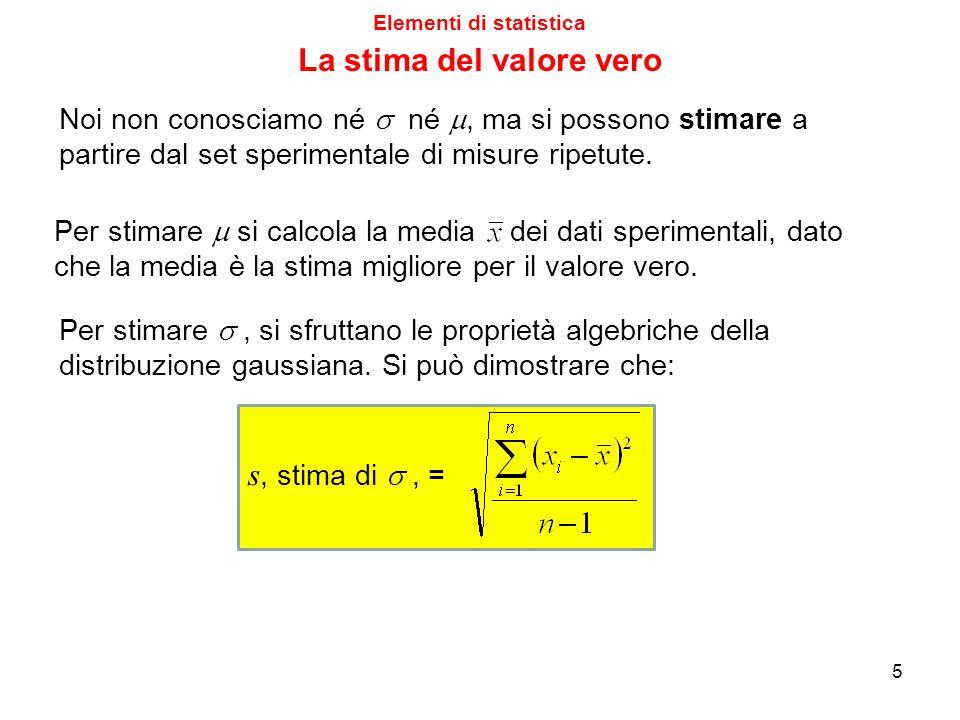 Elementi di statistica Riprendiamo uno degli esempi della lezione scorsa, ed il risultato finale ottenuto: C i,A = (0.01038 ± 0.00037) M (95%) In realtà, il numero 0.00037, preso con tutte le cifre che dà una calcolatrice scientifica a 10 cifre, sarebbe stato 0.00036548441 Anche la deviazione standard dei dati, s, scritta come 0.00029, sarebbe stata in realtà 0.00029439769 (ed evidentemente, essendo quasi sempre dei numeri irrazionali, tali valori potrebbero essere dati con un numero infinito di cifre).