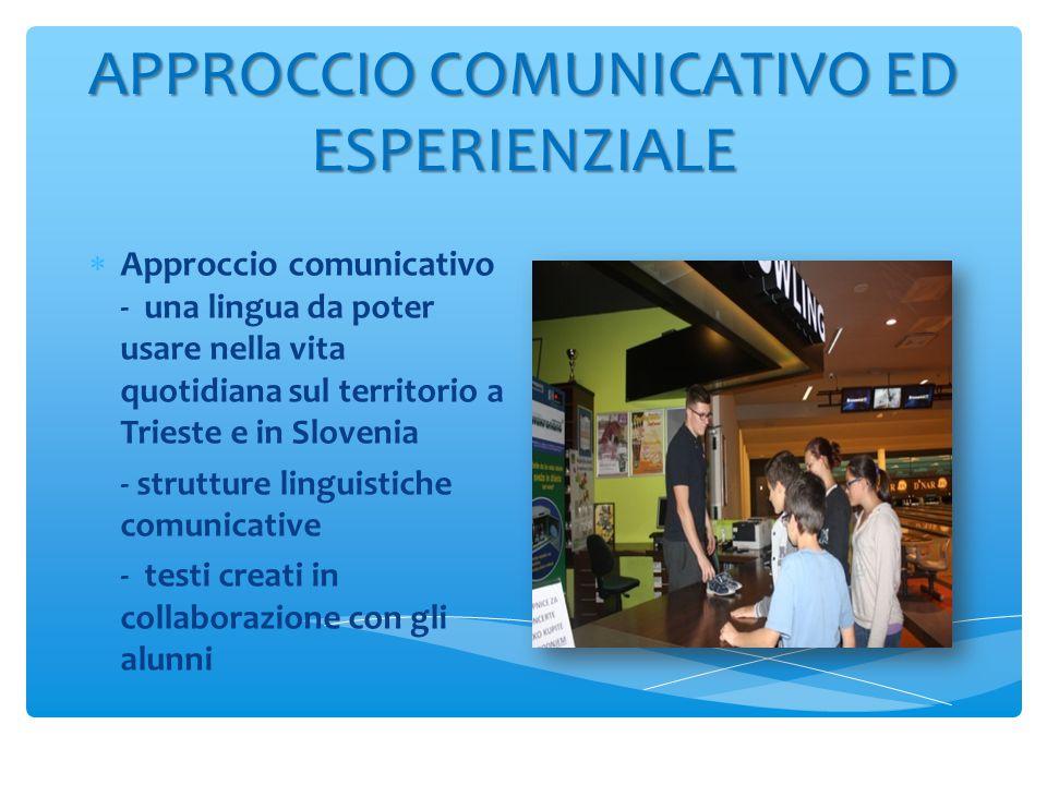 APPROCCIO COMUNICATIVO ED ESPERIENZIALE  Approccio comunicativo - una lingua da poter usare nella vita quotidiana sul territorio a Trieste e in Slovenia - strutture linguistiche comunicative - testi creati in collaborazione con gli alunni