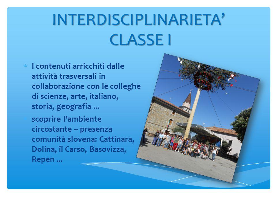 INTERDISCIPLINARIETA' CLASSE I  I contenuti arricchiti dalle attività trasversali in collaborazione con le colleghe di scienze, arte, italiano, storia, geografia...