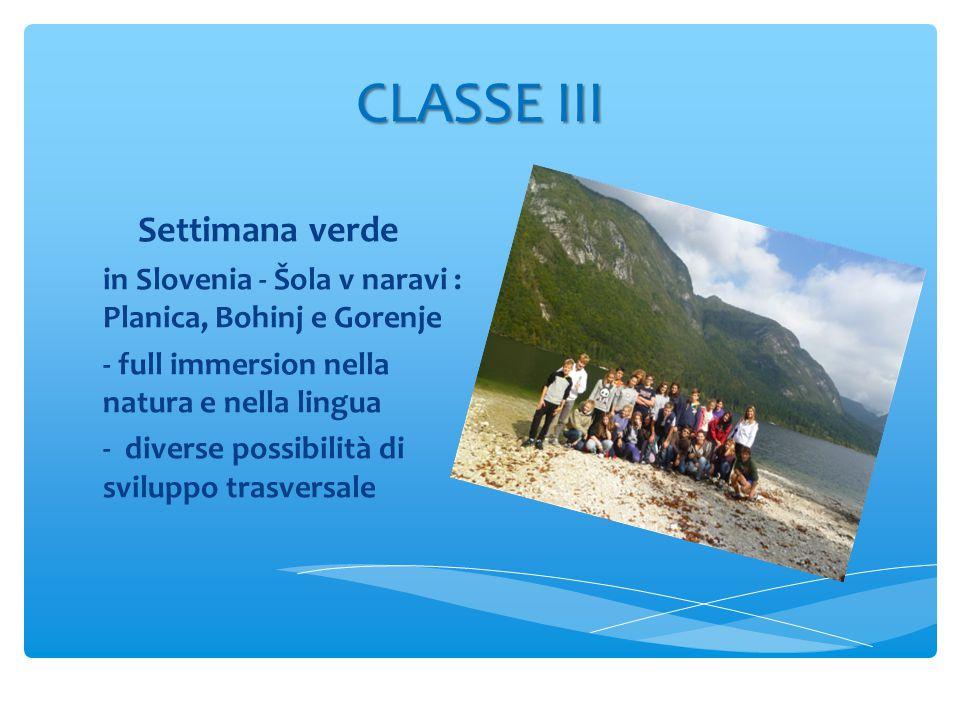 CLASSE III Settimana verde in Slovenia - Šola v naravi : Planica, Bohinj e Gorenje - full immersion nella natura e nella lingua - diverse possibilità di sviluppo trasversale