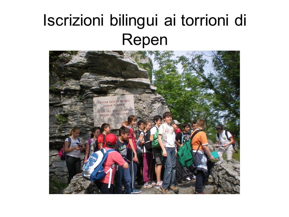 Iscrizioni bilingui ai torrioni di Repen
