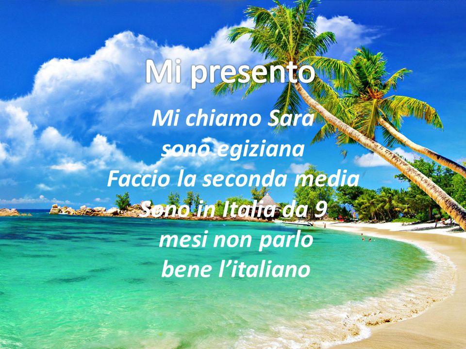 Mi chiamo Sara sono egiziana Faccio la seconda media Sono in Italia da 9 mesi non parlo bene l'italiano
