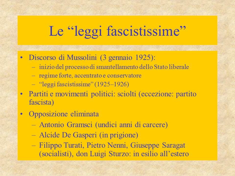 """Le """"leggi fascistissime"""" Discorso di Mussolini (3 gennaio 1925): –inizio del processo di smantellamento dello Stato liberale –regime forte, accentrato"""