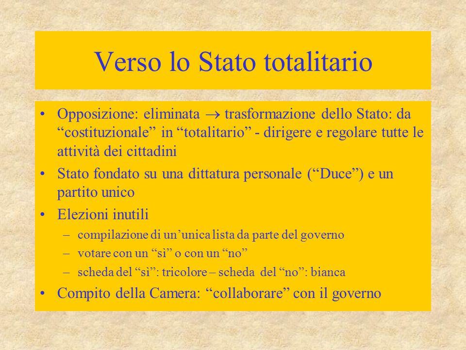 """Verso lo Stato totalitario Opposizione: eliminata  trasformazione dello Stato: da """"costituzionale"""" in """"totalitario"""" - dirigere e regolare tutte le at"""