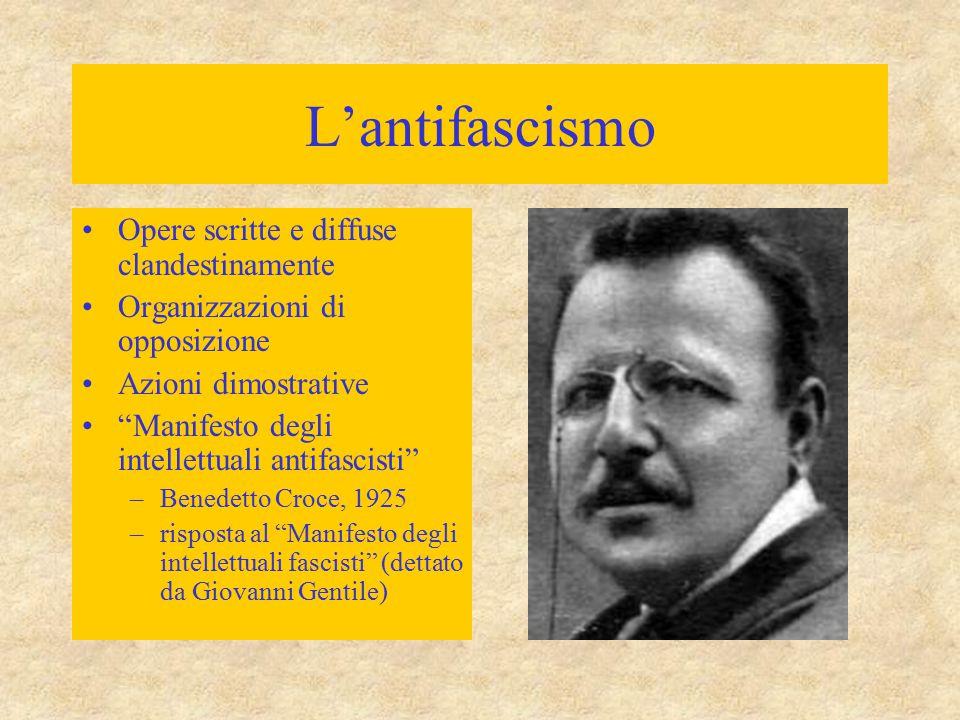 """L'antifascismo Opere scritte e diffuse clandestinamente Organizzazioni di opposizione Azioni dimostrative """"Manifesto degli intellettuali antifascisti"""""""