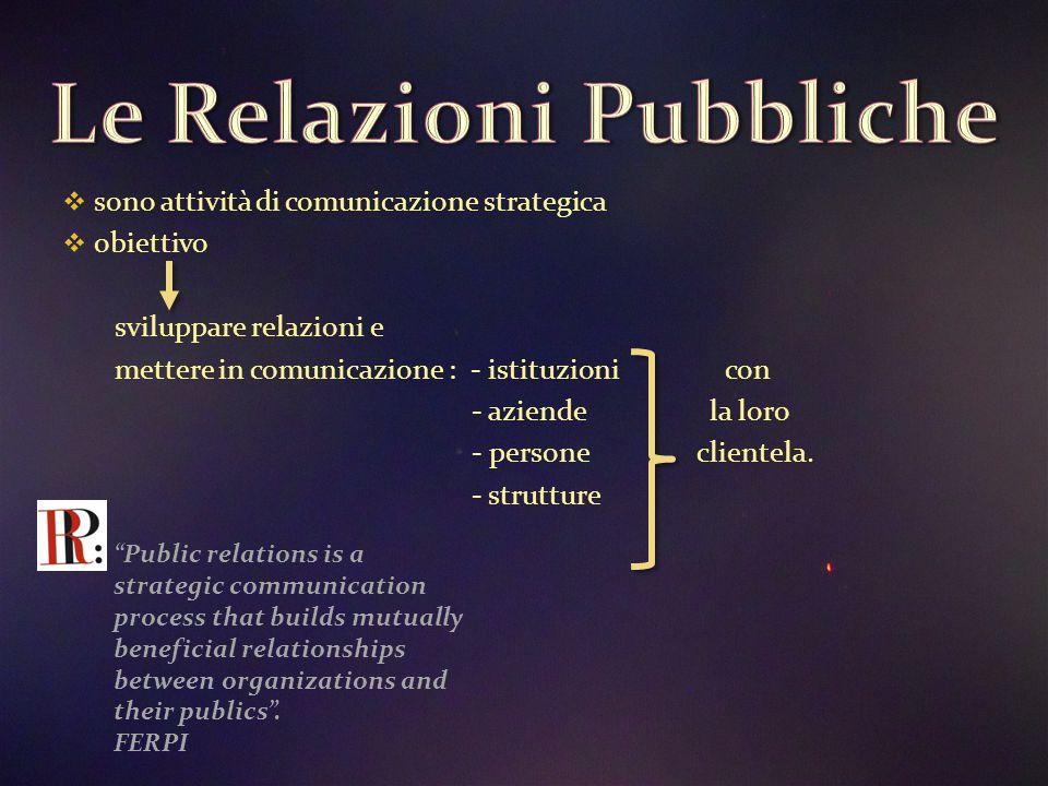  sono attività di comunicazione strategica  obiettivo sviluppare relazioni e mettere in comunicazione : - istituzioni con - aziende la loro - persone clientela.