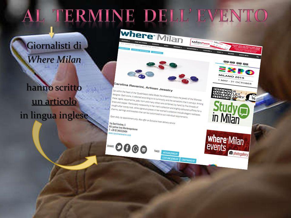 Giornalisti di Where Milan hanno scritto un articolo in lingua inglese