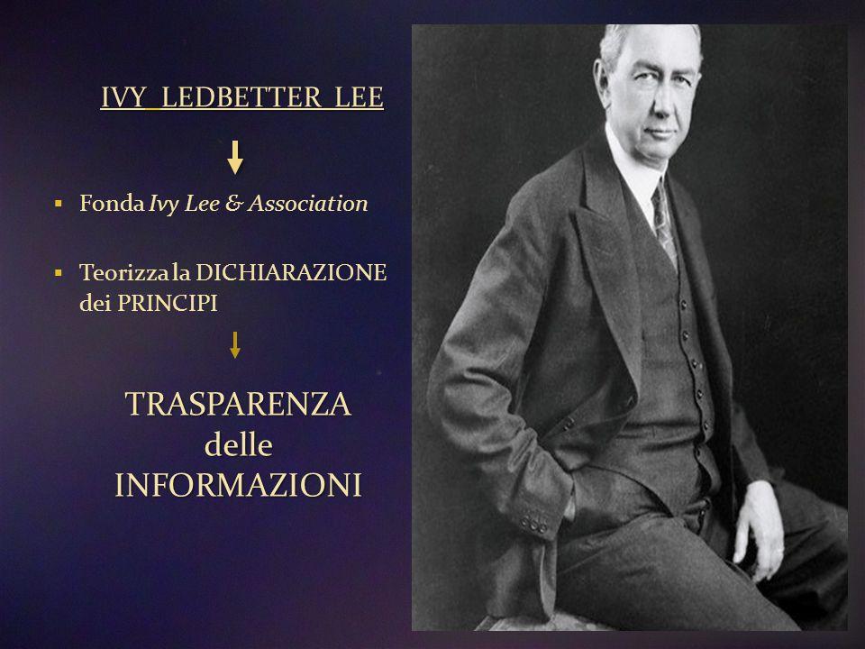 IVY LEDBETTER LEE  Fonda Ivy Lee & Association  Teorizza la DICHIARAZIONE dei PRINCIPI TRASPARENZAdelleINFORMAZIONI