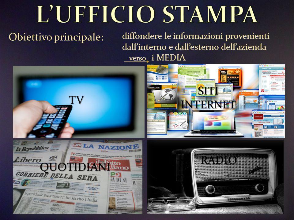 Obiettivo principale Obiettivo principale: diffondere le informazioni provenienti dall'interno e dall'esterno dell'azienda i MEDIA verso TV QUOTIDIANI SITI INTERNET RADIO