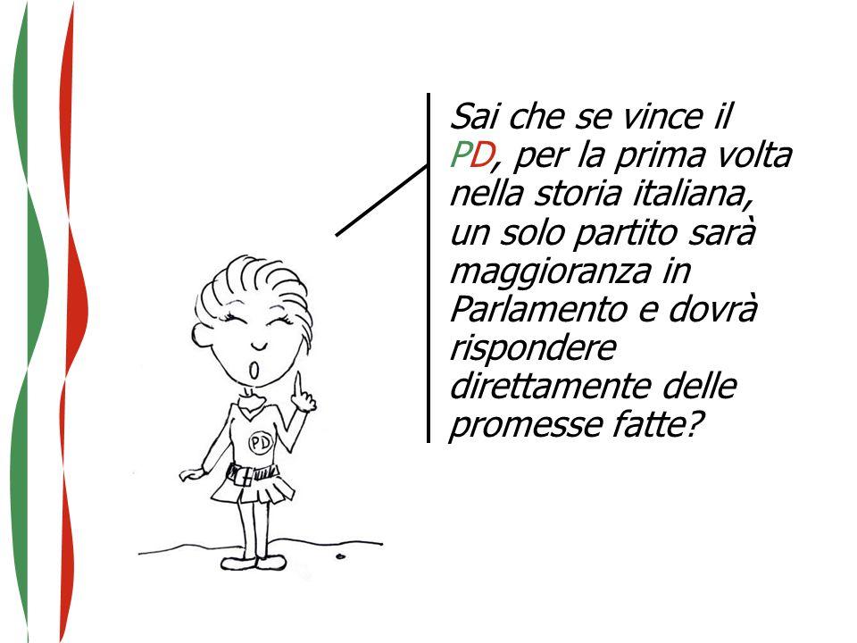Sai che se vince il PD, per la prima volta nella storia italiana, un solo partito sarà maggioranza in Parlamento e dovrà rispondere direttamente delle