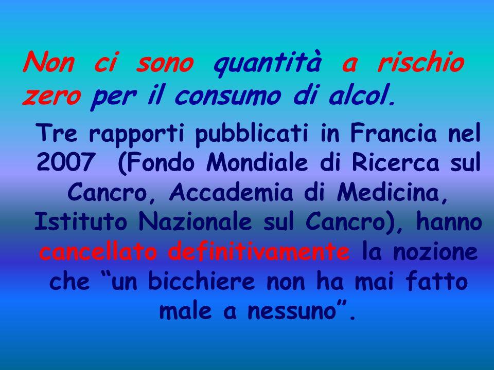 Non ci sono quantità a rischio zero per il consumo di alcol. Tre rapporti pubblicati in Francia nel 2007 (Fondo Mondiale di Ricerca sul Cancro, Accade