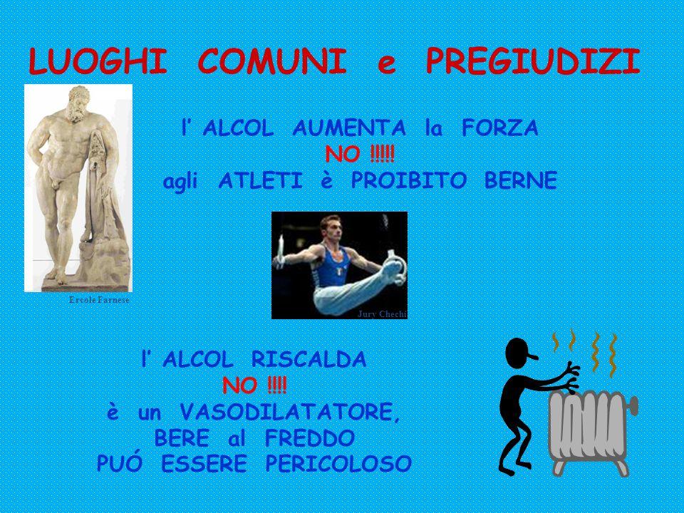 LUOGHI COMUNI e PREGIUDIZI l' ALCOL FA BENE in CASO di MALORE NO !!!.