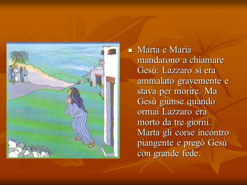 Marta e Maria mandarono a chiamare Gesù: Lazzaro si era ammalato gravemente e stava per morire. Ma Gesù giunse quando ormai Lazzaro era morto da tre g