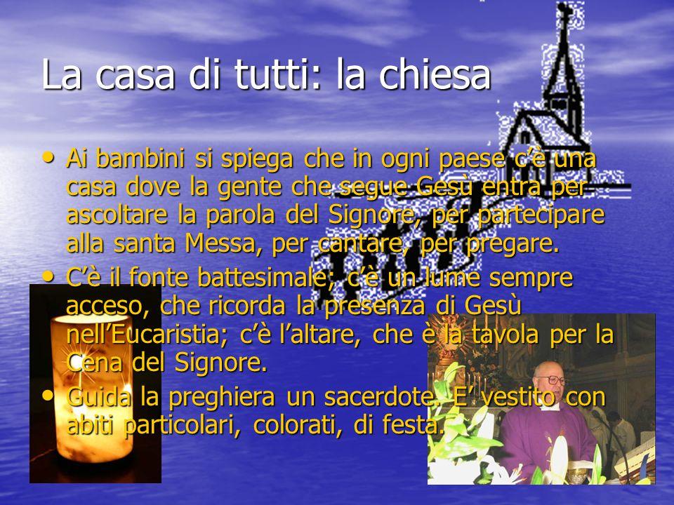 La casa di tutti: la chiesa Ai bambini si spiega che in ogni paese c'è una casa dove la gente che segue Gesù entra per ascoltare la parola del Signore