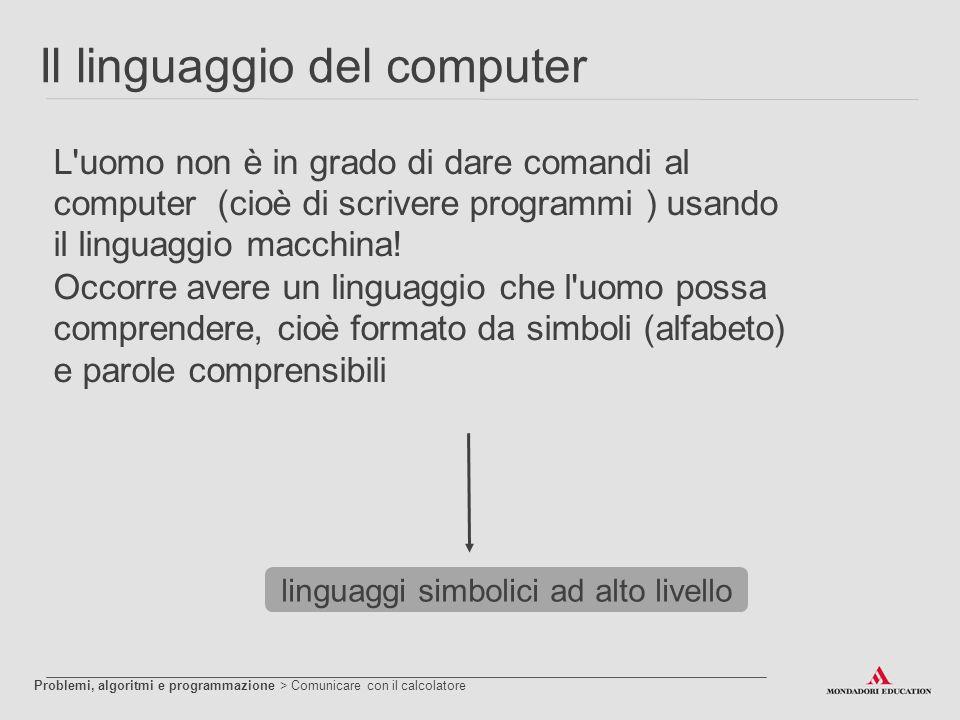 Il linguaggio del computer L'uomo non è in grado di dare comandi al computer (cioè di scrivere programmi ) usando il linguaggio macchina! Occorre aver