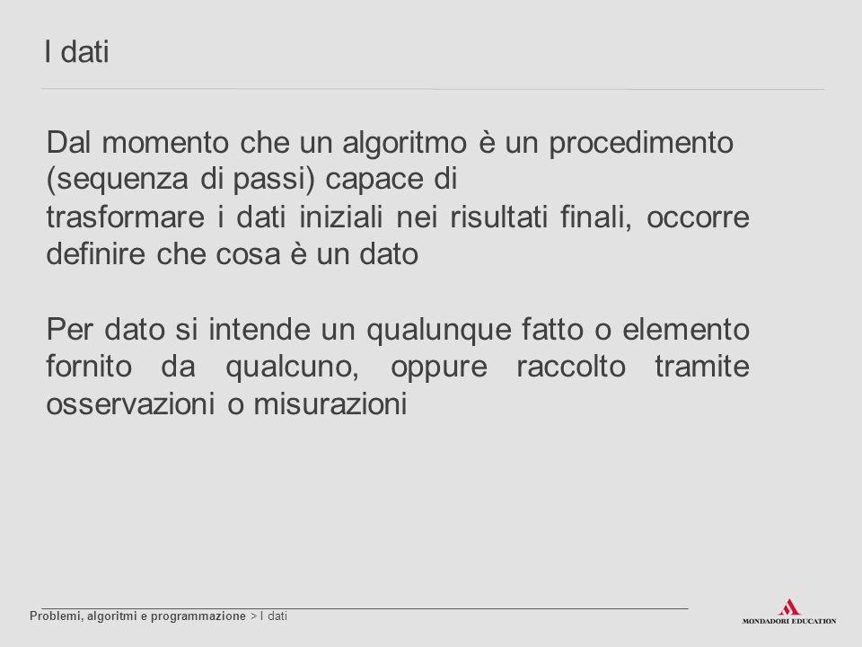 Dal momento che un algoritmo è un procedimento (sequenza di passi) capace di trasformare i dati iniziali nei risultati finali, occorre definire che co