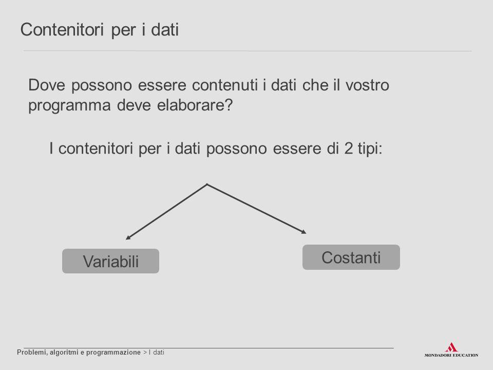 Contenitori per i dati Dove possono essere contenuti i dati che il vostro programma deve elaborare? I contenitori per i dati possono essere di 2 tipi: