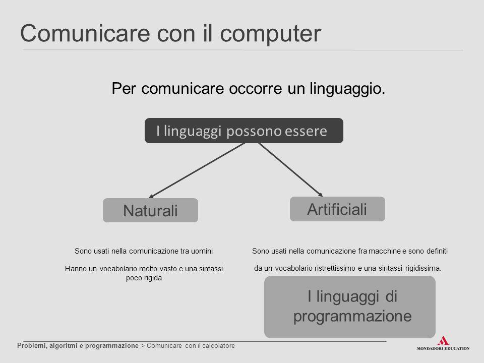 Comunicare con il computer Per comunicare occorre un linguaggio. Sono usati nella comunicazione tra uomini Hanno un vocabolario molto vasto e una sint