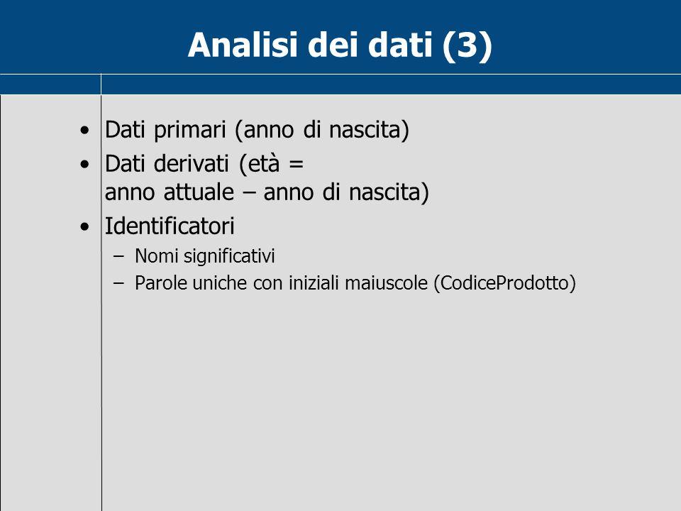 Analisi dei dati (3) Dati primari (anno di nascita) Dati derivati (età = anno attuale – anno di nascita) Identificatori –Nomi significativi –Parole uniche con iniziali maiuscole (CodiceProdotto)