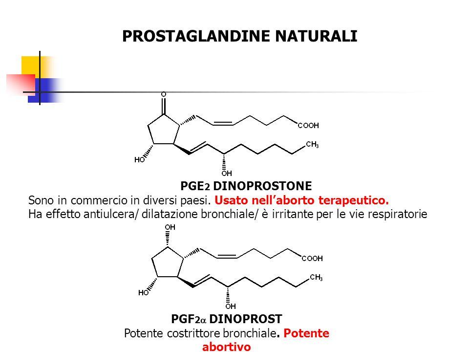 PROSTAGLANDINE NATURALI PGE 2 DINOPROSTONE Sono in commercio in diversi paesi. Usato nell'aborto terapeutico. Ha effetto antiulcera/ dilatazione bronc