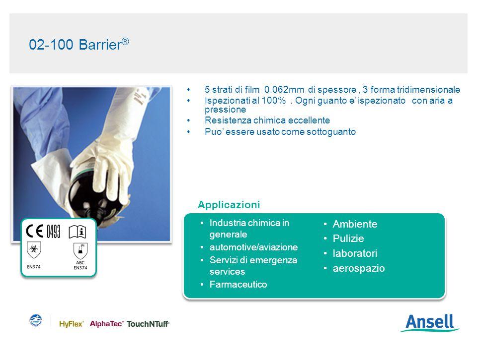 02-100 Barrier ® 5 strati di film 0.062mm di spessore, 3 forma tridimensionale Ispezionati al 100%.
