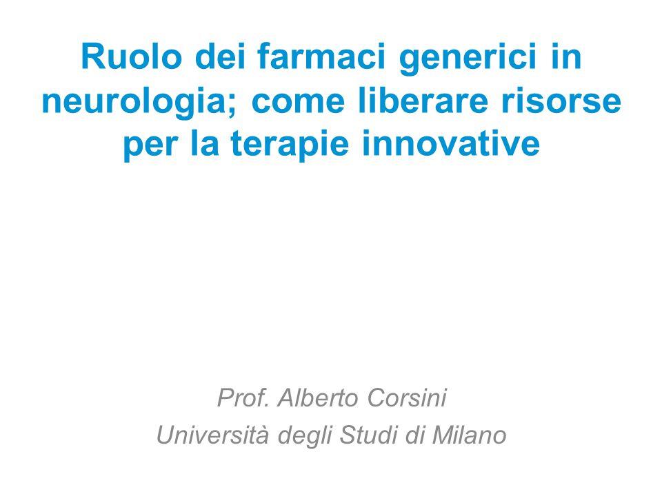 Ruolo dei farmaci generici in neurologia; come liberare risorse per la terapie innovative Prof. Alberto Corsini Università degli Studi di Milano