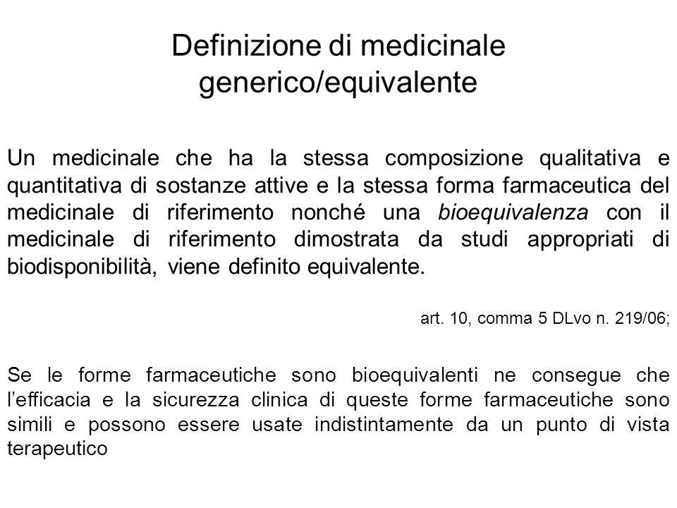 Definizione di medicinale generico/equivalente Un medicinale che ha la stessa composizione qualitativa e quantitativa di sostanze attive e la stessa f