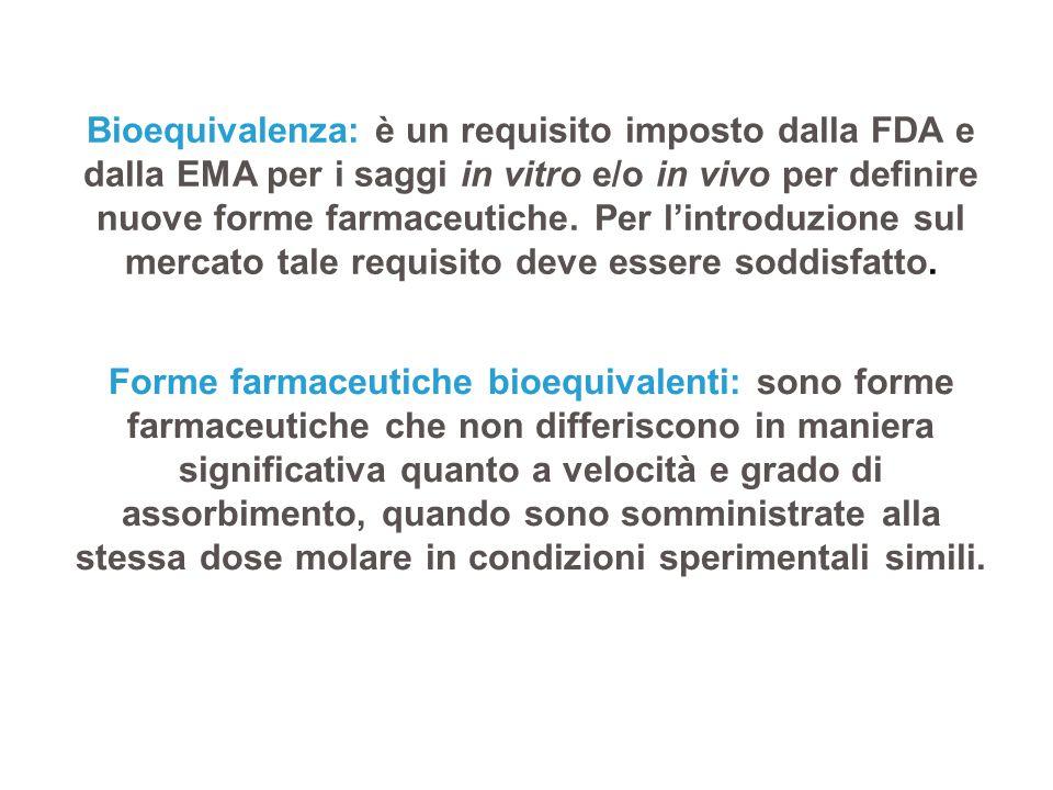 Bioequivalenza: è un requisito imposto dalla FDA e dalla EMA per i saggi in vitro e/o in vivo per definire nuove forme farmaceutiche. Per l'introduzio