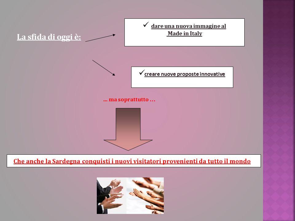 dare una nuova immagine al Made in Italy La sfida di oggi è: creare nuove proposte innovative … ma soprattutto … Che anche la Sardegna conquisti i nuovi visitatori provenienti da tutto il mondo
