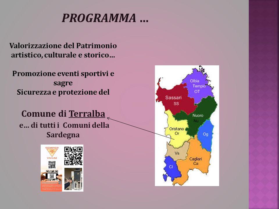 PROGRAMMA … Valorizzazione del Patrimonio artistico, culturale e storico… Promozione eventi sportivi e sagre Sicurezza e protezione del Comune di Terr