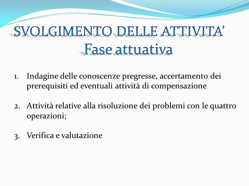 1.Indagine delle conoscenze pregresse, accertamento dei prerequisiti ed eventuali attività di compensazione 2.Attività relative alla risoluzione dei p