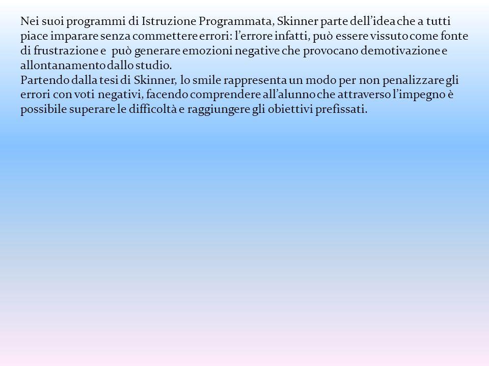Nei suoi programmi di Istruzione Programmata, Skinner parte dell'idea che a tutti piace imparare senza commettere errori: l'errore infatti, può essere