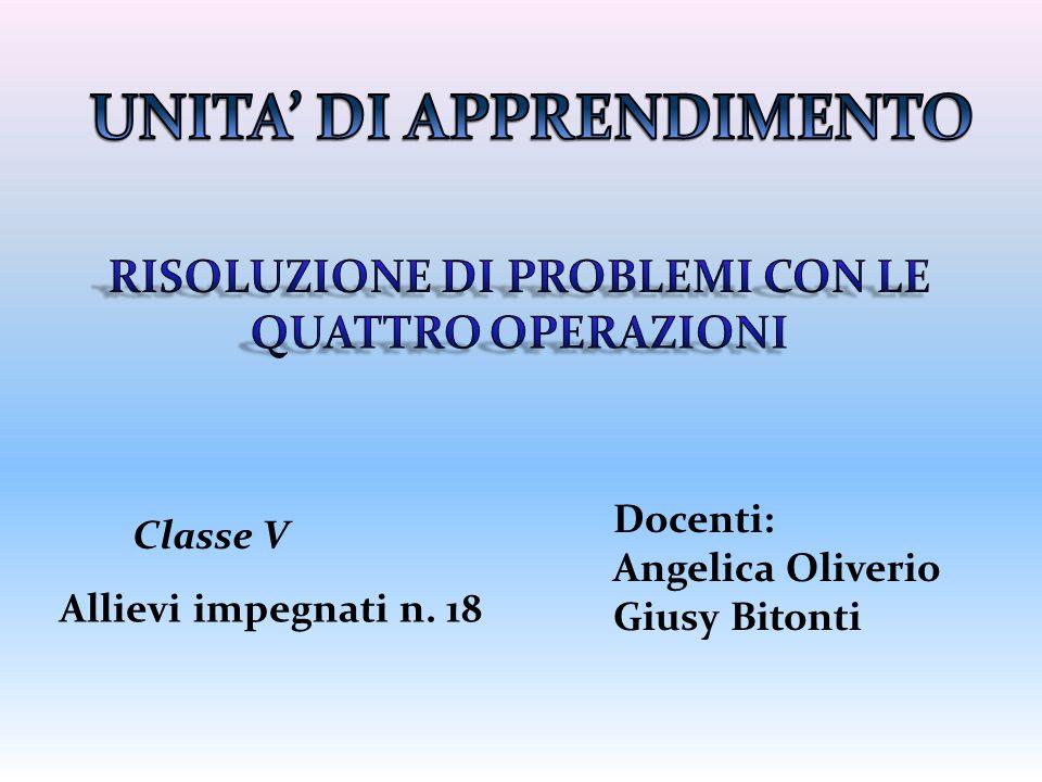 Classe V Allievi impegnati n. 18 Docenti: Angelica Oliverio Giusy Bitonti
