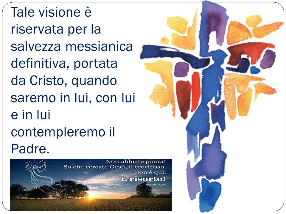 Tale visione è riservata per la salvezza messianica definitiva, portata da Cristo, quando saremo in lui, con lui e in lui contempleremo il Padre.