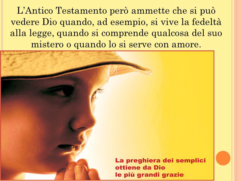 L'Antico Testamento però ammette che si può vedere Dio quando, ad esempio, si vive la fedeltà alla legge, quando si comprende qualcosa del suo mistero