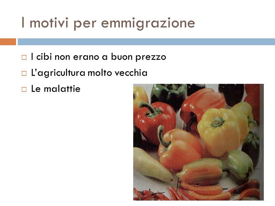 I motivi per emmigrazione  I cibi non erano a buon prezzo  L'agricultura molto vecchia  Le malattie