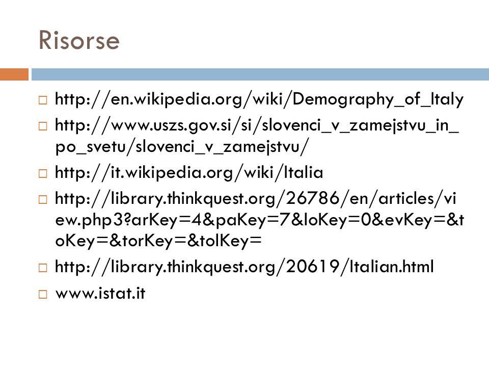 Risorse  http://en.wikipedia.org/wiki/Demography_of_Italy  http://www.uszs.gov.si/si/slovenci_v_zamejstvu_in_ po_svetu/slovenci_v_zamejstvu/  http://it.wikipedia.org/wiki/Italia  http://library.thinkquest.org/26786/en/articles/vi ew.php3?arKey=4&paKey=7&loKey=0&evKey=&t oKey=&torKey=&tolKey=  http://library.thinkquest.org/20619/Italian.html  www.istat.it
