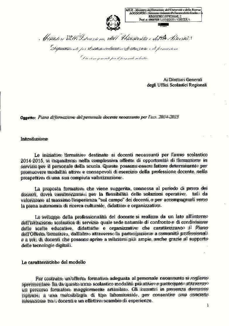 MIUR - Ministero dell'Istruzionedell'Untversùàe della Ricerca AOODGPER - Direzione Generale Personale della Scuola REGISTRO UFFICIALE Prot. n. 0006768