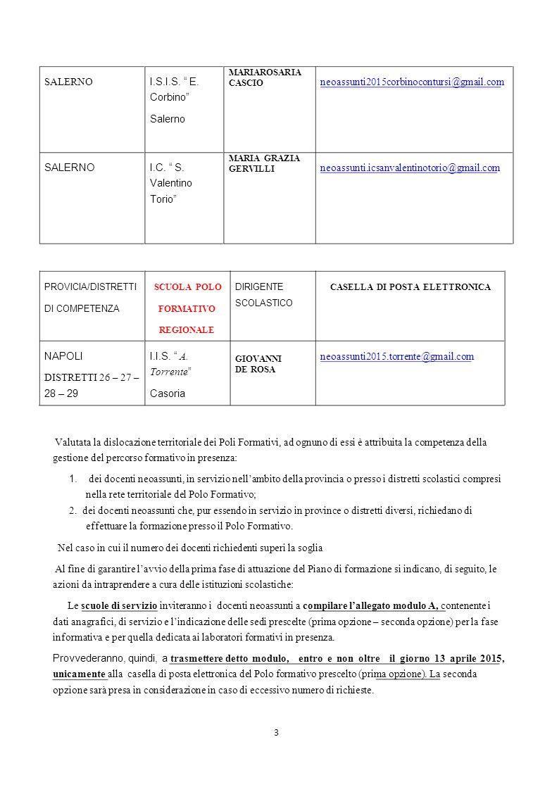 """SALERNO I.S.I.S. """" E. Corbino"""" Salerno MARIAROSARIA CASCIO neoassunti2015corbinocontursi@gmail.com SALERNOI.C. """" S. Valentino Torio"""" MARIA GRAZIA GERV"""