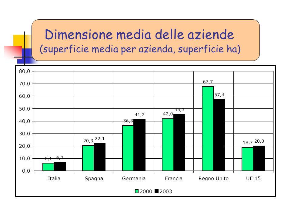 Dimensione media delle aziende (superficie media per azienda, superficie ha)