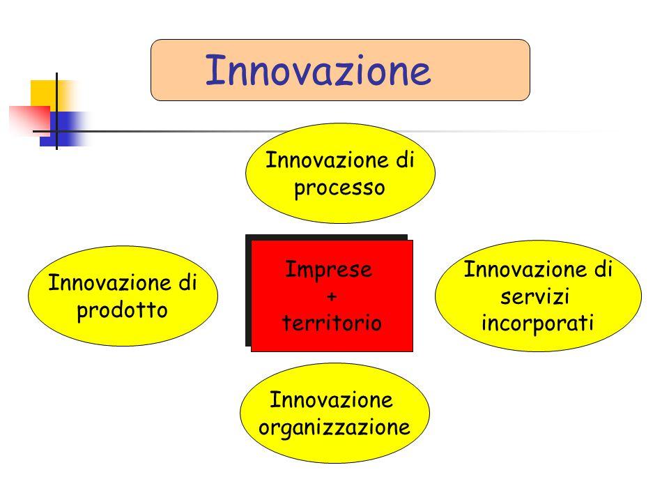 Innovazione di prodotto Innovazione di processo Innovazione di servizi incorporati Innovazione organizzazione Imprese + territorio Imprese + territori