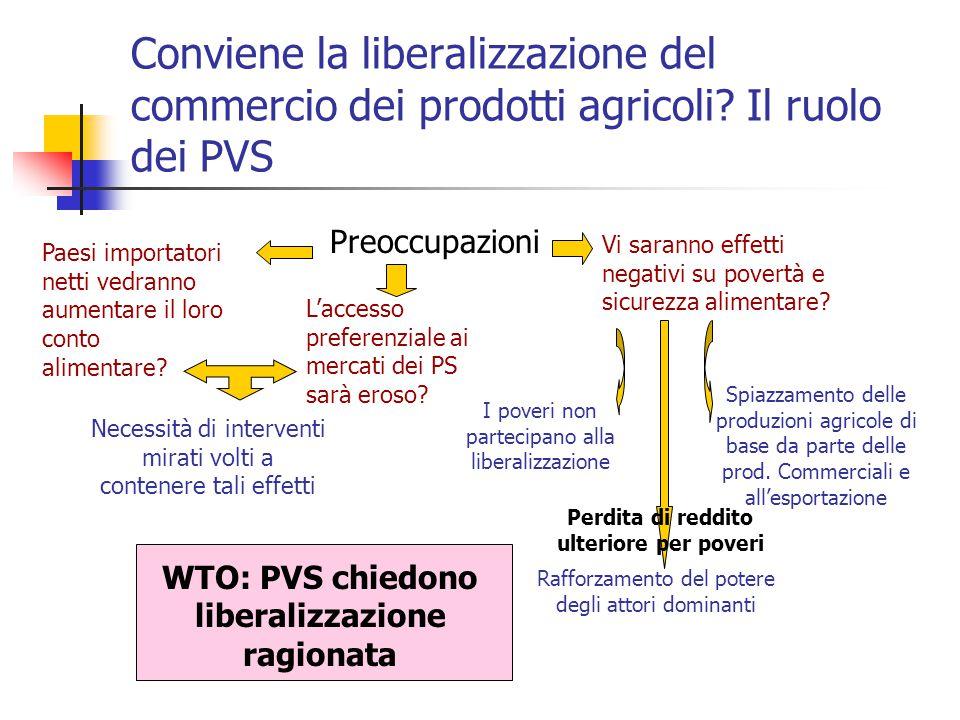 Conviene la liberalizzazione del commercio dei prodotti agricoli? Il ruolo dei PVS Preoccupazioni Paesi importatori netti vedranno aumentare il loro c