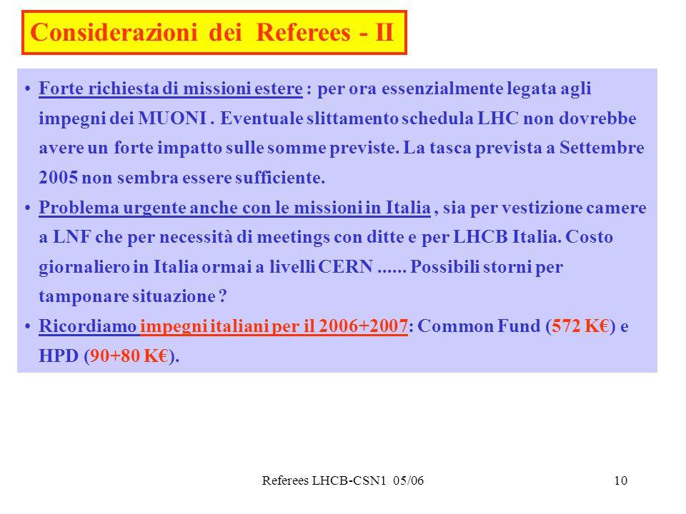 Referees LHCB-CSN1 05/0610 Considerazioni dei Referees - II Forte richiesta di missioni estere : per ora essenzialmente legata agli impegni dei MUONI.
