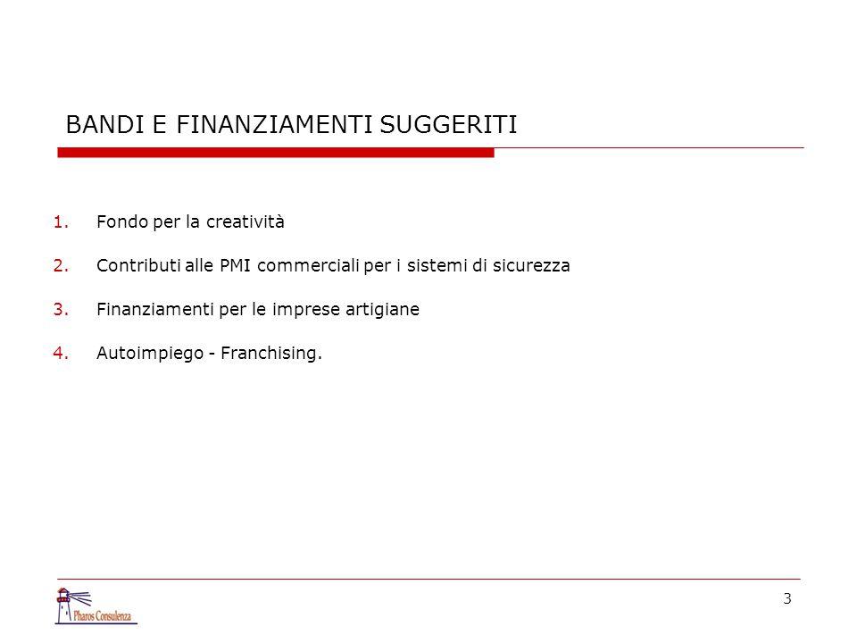 3 BANDI E FINANZIAMENTI SUGGERITI 1.Fondo per la creatività 2.Contributi alle PMI commerciali per i sistemi di sicurezza 3.Finanziamenti per le impres