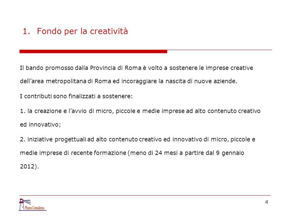 4 1.Fondo per la creatività Il bando promosso dalla Provincia di Roma è volto a sostenere le imprese creative dell'area metropolitana di Roma ed incor
