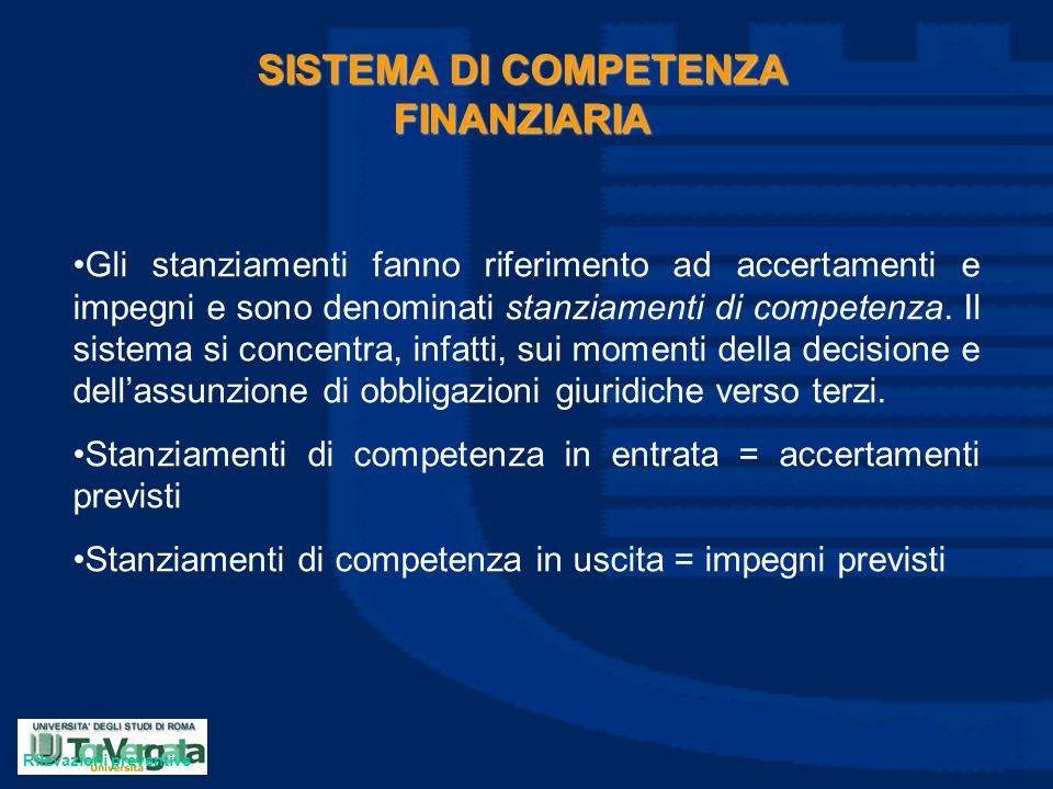SISTEMA DI COMPETENZA FINANZIARIA Gli stanziamenti fanno riferimento ad accertamenti e impegni e sono denominati stanziamenti di competenza. Il sistem